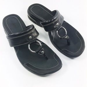 Cole Haan Nike Air Black Leather Sandals 8.5